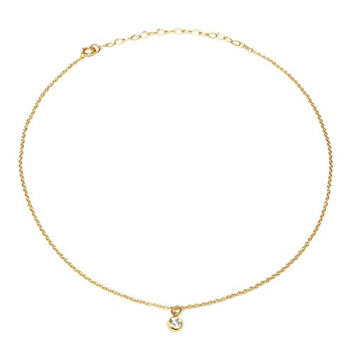 BENIQUE Dainty Necklace Choker for Women - Freshwater Cultured Pearl, Fine Chain for Layering, AAA Cubic Zirconia Drop, 14K Gold Filled, Made in USA, 13