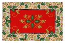 Berry Hooked Rug - 2x3 Feet Hooked Rug, Christmas Holly & Berries w/ Mistletoe