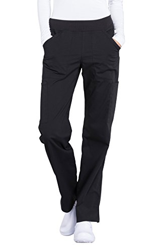 - Cherokee Professionals by Workwear Women's Elastic Waistband Pull On Cargo Scrub Pant Medium Tall Black