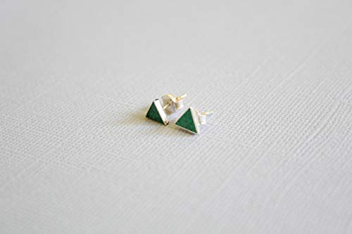 Natural Cottage Rocker - Tiny Triangle Malachite Micro Mosaic Sterling Silver Stud Earrings, Semi Precious Gemstone by Handmade Studio