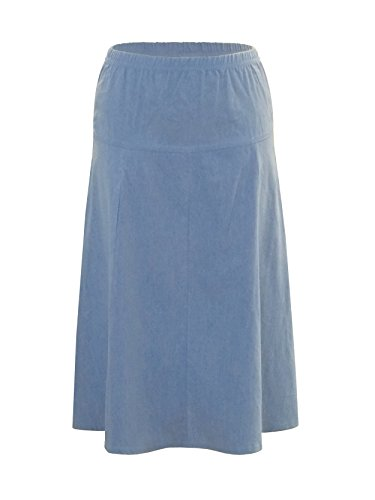 Fit And Flare Denim Skirt (Baby'O Womens Ultra Soft Lightweight Denim Fit and Flare A-Line Midi Skirt (X-Small, Light Blue))