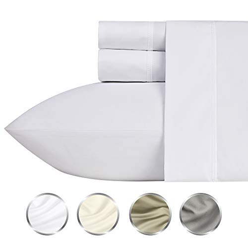 (1000-Thread-Count 100% Pure Cotton Bed Sheets on Amazon 4 Pc Queen Size White Sheet Set - Single Ply Long Staple Combed Cotton Yarns, Best Luxury Sateen Weave, Fits Mattress Upto 20'' Deep Pocket)