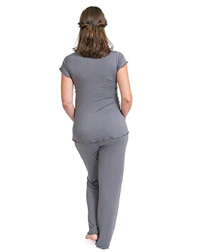Kit de pijamas ultra suaves para embarazadas. Gris Pizarra
