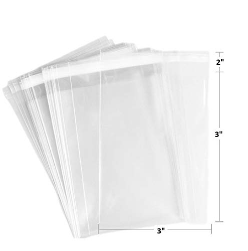 888 Display USA 100 3x3 Crystal Clear Protective Closure Bags with Self Adhesive Flap Closure - Clear Resealable Cello/Cellophane Bags Good for Bakery, Candle, Soap, Cookie Poly Bags