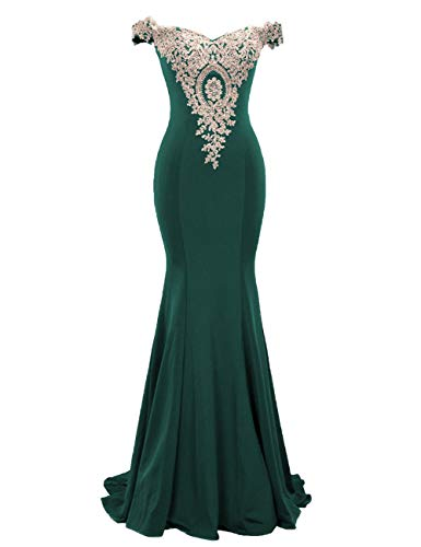 Cdress Satin Prom Dress Mermaid Long Evening Gowns Appliques Off Shoulder Party Formal Dresses US 22W Teal