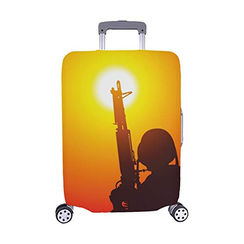 Soldier Machine Gun On Sunset Spandex Trolley Case Travel Luggage Protector Suitcase Cover 28.5 X 20.5 Inch