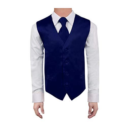 (Dan Smith DGDE0018-12 Dark Blue Children Plain Waistcoat Microfiber Dress Tuxedo Vests for Boys Vest with Matching Neck Tie for Age 12)