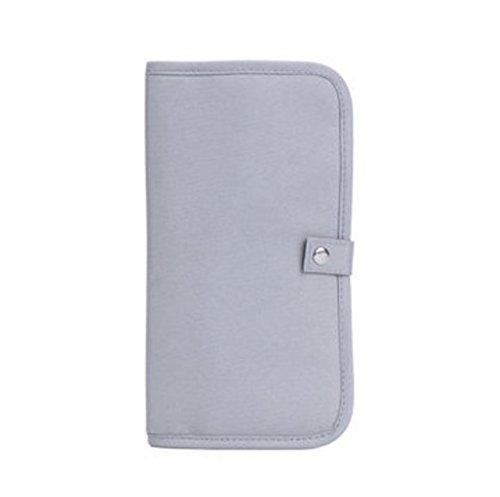 TENGGO Portable Voyage Zipper Passeport Sacs Imperméables Porte-Cartes Sac À Monnaie-Rose Gris