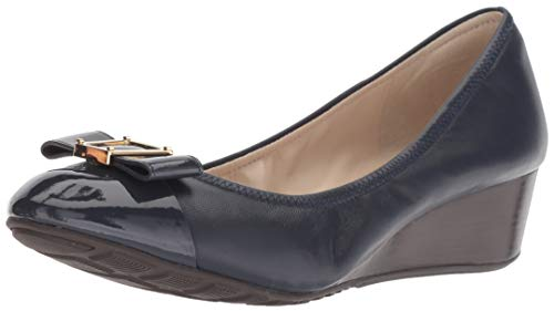 Cole Haan Women's Emory Bow Wedge (40MM) Pump, Marine Blue Leather, 9.5 B - Wedge Bow Front