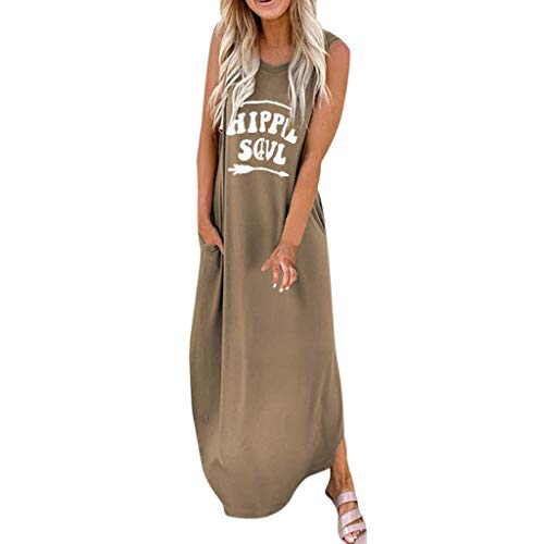 Sttech1 Women O-Neck Sleeveless Letter Print Casual Daliy Pocket Long Maxi Dress S-3XL Khaki (Best Outdoor Dating Sites)