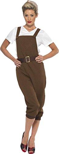 Ww2 Land Girl Costume Brown Small (uk Dress (Ww2 Land Girl Costumes)