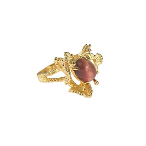 Providence Vintage Jewelry Genuine Red Tiger Eye Ring and Swarovski Crystal 18k Gold Electroplated 18k Gold Electroplated