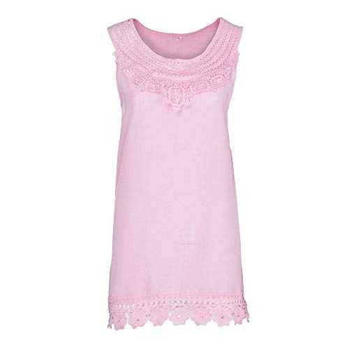 iYBUIA Women O-Neck Sleeveless Pure Color Lace Plus Size Vest Loose T-Shirt Blouse with Hollow Hem Pink by iYBUIA (Image #2)