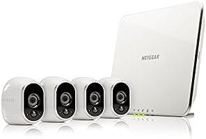 Arlo VMS3430 Telecamere di Sicurezza Wifi, senza Fili, Alimentata a Batteria, HD, Visione Notturna,  Interno/Esterno, Kit 4 Telecamere