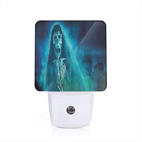 Seuriamin Halloween Decorations Gothic Dark Backdrop with A Dead Ghost Skull Mystical Haunted Horror Theme Full Blue Dusk to Dawn Sensor of Bedroom Energy Efficient Night Light -