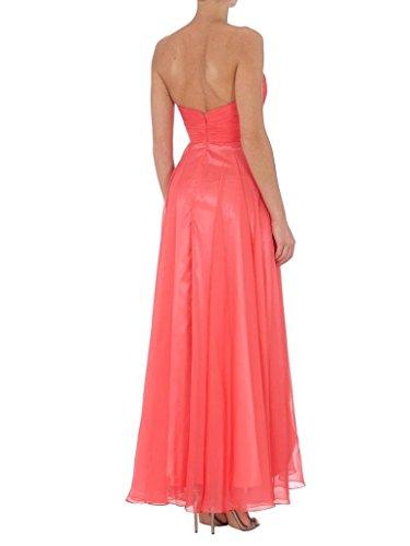 Charmant Damen Einfach Herzausschnitt Chiffon Brautjungfernkleider Abendkleider Partykleider Hi-Lo