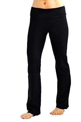 CLARANY Women's Combed Cotton Spandex Foldover Bootleg Yoga Pants