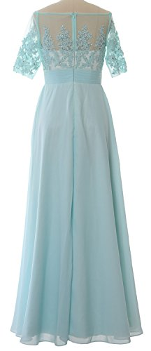 of MACloth Women Begonia Shoulder Gown the Sleeve Formal Dress Short the Mother Bride Off rzSdqrow