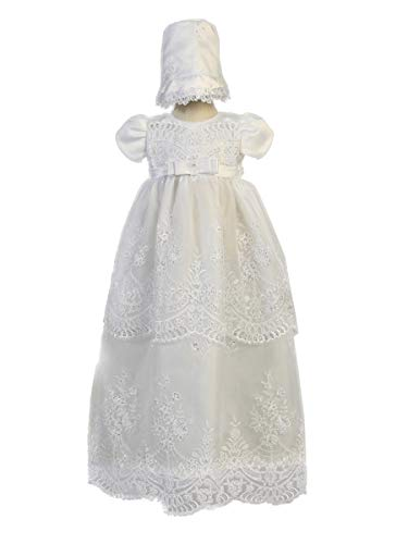 Embroidered Organza w/Sequins Long Christening Gown (White, 3-6 Months)