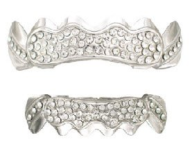 Hip Hop Platinum Silver Plated Removeable Mouth Grillz Set (Top & Bottom) Iced Out L042