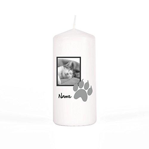 private grief Gedenkkerze mit Foto der verstorbenen Katze