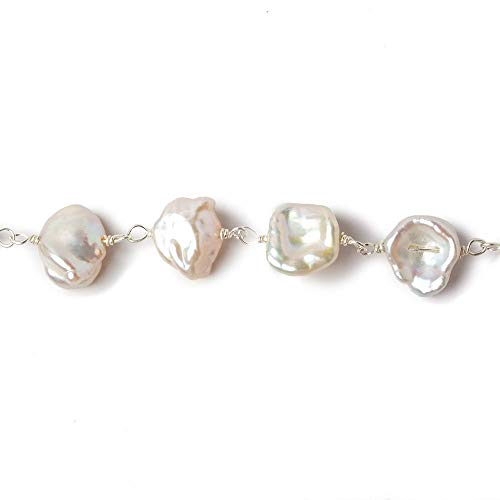 (9x8mm Off White Keshi Side Drilled Pearl .925 Silver Chain by The Foot 25 Pearls)