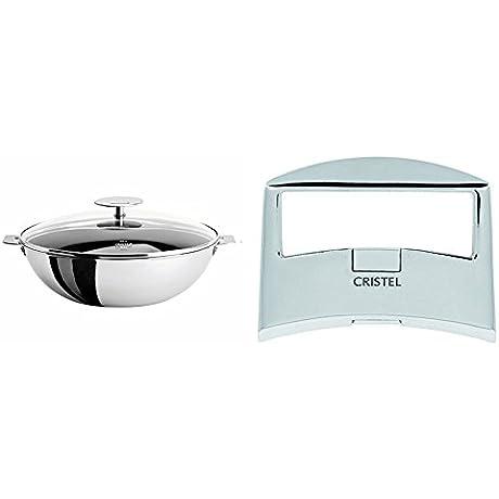 Cristel Casteline WOKT24QEKP Wok 3 Quart Silver With Cristel Casteline Plcx Side Handle Silver