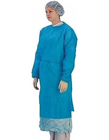 Premier de manga larga (desechable, stockinette puños, azul, pack de 10 (