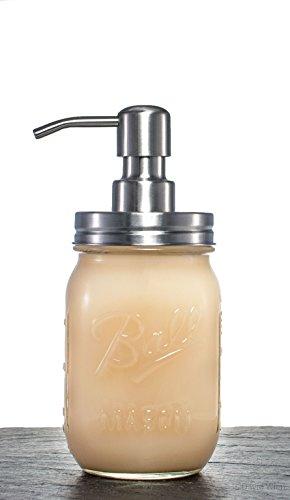 Mason Jar dispensador de jabón líquido - fabricado en Estados Unidos==- retro dispensador de jabón líquido, loción dispensador de cristal/acero inoxidable: ...