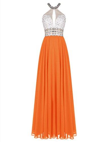 orange a line prom dress - 3