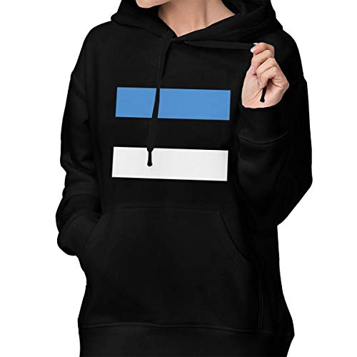 Estonia Women's Pullover Hoodie Sweatshirts Hooded with Pocket Black ()