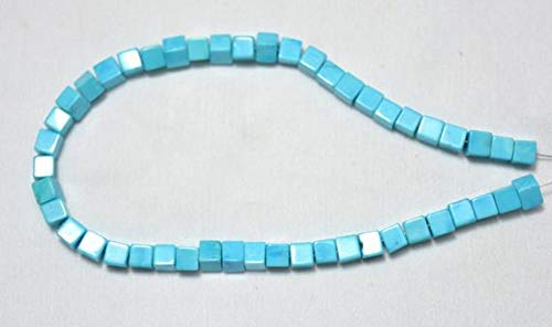GemAbyss Beads Gemstone Clearance Sale, Turquoise Plain Box Beads, Howlite Box Shape Beads, Chinese Turquoise, Box Shape 5mm, 9 Inches Strand Code-MVG-30719