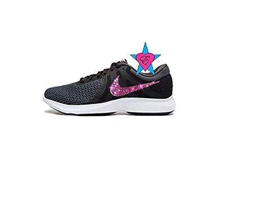 0138e9aa0b0f8 Custom Pink Crystal Black Revolution 4 Running Shoes