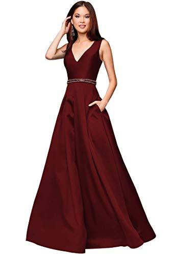 Zhongde Women's A-line V Neck Beaded Satin Long Prom Dress Floor Length Evening Formal Gown Burgundy Size 2 ()