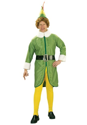 Santa's Elf Costume (Elf Movie Buddy The Elf Costume, Green, Standard Size)