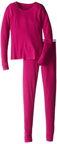 Hanes Big Girls Thermal Underwear Set, Hot Pink, Large/10-12