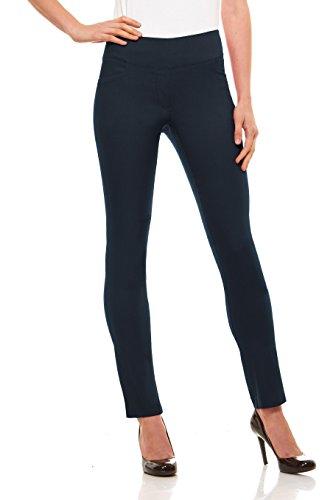 - Velucci Womens Straight Leg Dress Pants - Stretch Slim Fit Pull On Style, Indigo-XXL