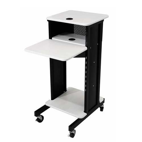 Oklahoma Sound PRC200 Steel Premium Presentation Cart, 18' Width x 40-1/2' Height x 30' Depth, Ivory Woodgrain/Black