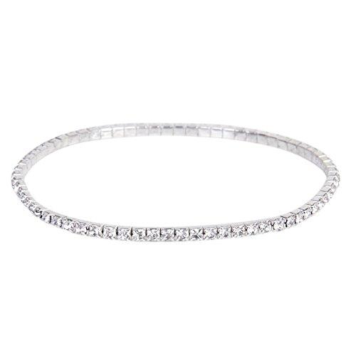SODIAL(R) 3 pcs. Mode Ton Argent Cristal Rhinestone Cheville Cheville Bracelet de Ligne Elastique