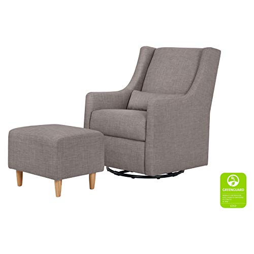 Babyletto Toco Upholstered Swivel Glider and Stationary Ottoman, Grey Tweed (Black Ottoman Friday)
