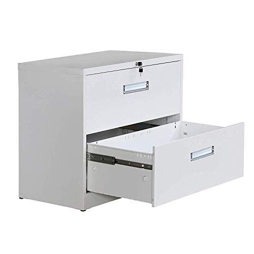 Vertical Metal - Metal Vertical File Cabinet with Lockable System Office Organizer Storage Lateral Filing Cabinet (White, 2 Drawers)