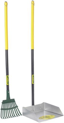 Flexrake 68W Large Scoop and Steel Rake Set with 36-Inch Cherry Stained Wood Handle - Rake Set