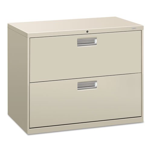 HON 600 Series Standard File Cabinet - 36'' x 19.25'' x 28.38'' - Steel - 2 x File Drawer(s) - Legal, Letter - Interlocking, Leveling Glide, Ball-bearing Suspension, Recessed Handle, Label Holder, Durable - Gray