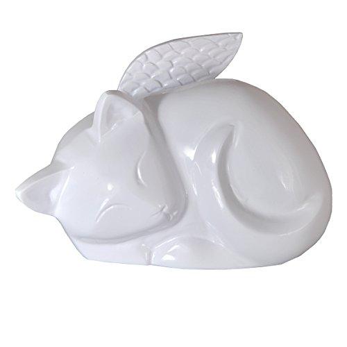 Sleeping Angel Cat Brass Cremation Urn (Engravable) (Plain, - Plains Gallery White