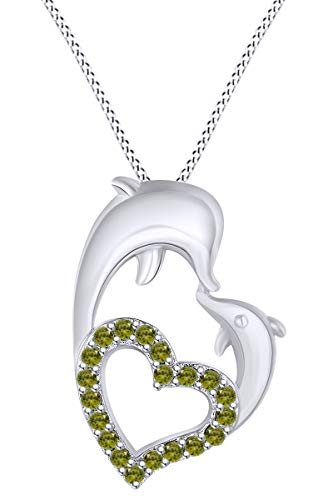 AFFY Round Shape Simulated Peridot Mom and Child Dolphin Heart Pendant Necklace in 14k White Gold Over Sterling Silver