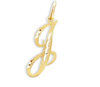 Cursive J Initial Charm 14k Yellow Gold Letter Pendant Solid by Jewel Tie