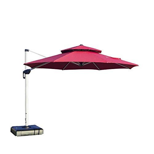 PURPLE LEAF 10 Feet Double Top Round Deluxe Patio Umbrella Offset Hanging Umbrella Outdoor Market Umbrella Garden Umbrella, Burgundy