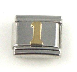 Number 1 Italian Charm (Italian Charm - Gold #1)