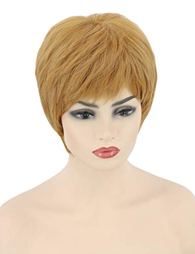 Topcosplay Pixie Cut Wig Short Gold Orange Layered Cersei Wig Cosplay Halloween Character Costume Wig -