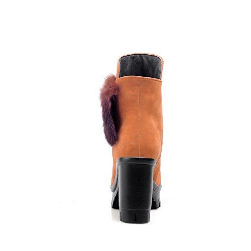 AllhqFashion Damen Rund Zehe Eingelegt Niedrig-Spitze Hoher Absatz Stiefel mit Metalldekoration Gelb